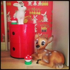 Corner of little girl's room, with Rabbit and Bambi lamps by Heico, red Kartell Componibili storage. Toadstool night lights and bunny wallpaper - fantastic! #bunnyonComponibili