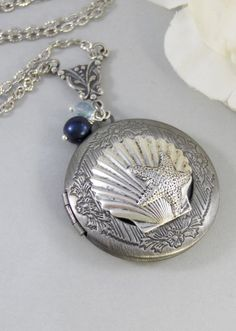 Oceans Pearl,Silver Locket,Locket, Antique Locket,Shell,Necklace,Victorian Locket,Pearl. Handmade jewelry by valleygirldesigns.