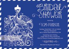 Royal Blue Bridal Shower Invitation Gown by digibuddhaPaperie