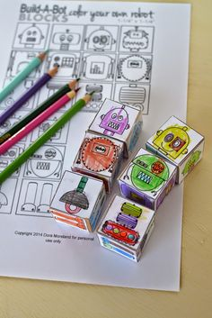 Color Your Own Robot Blocks For Kids (FREE Printable)
