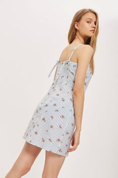Striped Floral Mini Pinafore Dress - Dresses - Clothing - Topshop USA