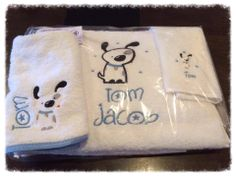 Kids/Baby Gift Embroidered personalized towel , Bib and face washer set - Purple cat embroidery - $50 -dog https://www.facebook.com/LyndalsPersonalizedEmbroidery