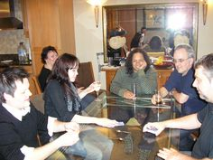2010 - cards in the kitchen.  Chris Gibbons, Janina Spangenberger, Mary Watson, Jo & Dave Key, Andy Gwynn
