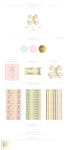 New Branding Design for Wedding Designer, Angela Mazanti - Inspired by French Interiors and Color Palette. Custom French Monogram, Patterns by Emily McCarthy #branding #graphicDesign #frenchbranding