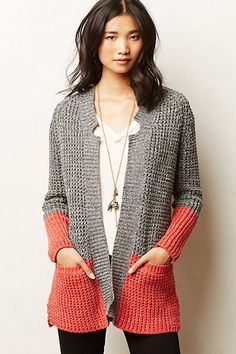 "Colorblock Cardi ""Shop for Colorblock Cardi by Anthropologie at ShopStyle."", ""Colorblock Cardigan by adding another color of knitting add Crochet Clothes, Diy Clothes, Crochet Cardigan, Knit Crochet, Magia Do Crochet, Moda Crochet, Color Block Sweater, Knit Jacket, Knit Fashion"