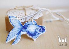 Handmade blue & white porcelain goldfsh pendant by SillyRice, £30.00
