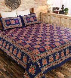 Buy Hand Block Printed Bedsheet Sku (Code: online from sourgrape's online Bed Sheet Sizes, Living Room Decor Curtains, Hospital Bed, Hotel Bed, Bedspreads, Cover Size, Household Items, Luxury Bedding, My Dream Home