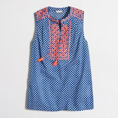 J.Crew Factory - petite printed embroidered tank top