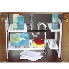 Addis Under Sink Storage Unit. Under sink storage is a problem due to weird plumbing angles. With this storage unit, you can ajust the shelves to fit almost any space. Under Kitchen Sink Organization, Under Sink Storage Unit, Kitchen Sink Storage, Bathroom Storage, Home Organization, Kitchen Shelves, Kitchen Unit, Boat Storage, Cupboard Storage