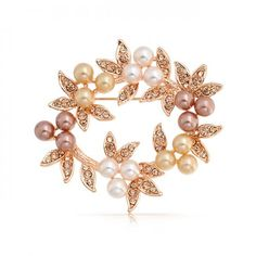 Bling Jewelry Golden Pearl Crystal Christmas Wreath Bridal Pin Rose Gold Plated