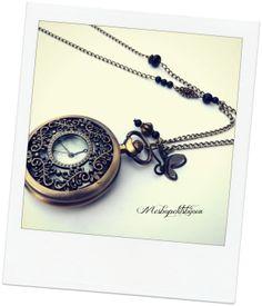 sautoir montre à gousset bronze, style vintage perles d'agate onyx 4 : Montre par mesbopetitsbijoux