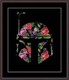 Star Wars Cross Stitch PDF pattern Floral Boba Fett Helmet
