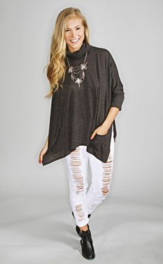 uptown girl poncho top - grey