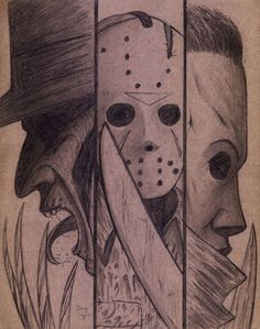 scary drawings Freddy ,Jason,and Michael on Cardboard by DougSQ on DeviantArt Scary Drawings, Dark Art Drawings, Art Drawings Sketches, Scary Halloween Drawings, Michael Myers Drawing, Jason Drawing, Arte Horror, Horror Art, Jason Voorhees Drawing