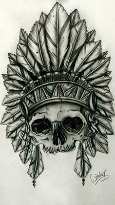 Artículos similares a Native American Indian skull with feather head dress en Etsy