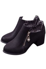 Delicate Polka Dot Zippered Chunky Heel Ankle Boots