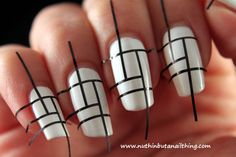 White and Black Line Striped Nail Design with Tape