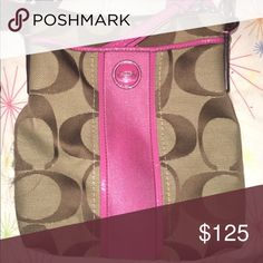 Coach cross body bag Pink, and tan cross body bag. With adjustable strap and dual pocket Coach Bags Crossbody Bags