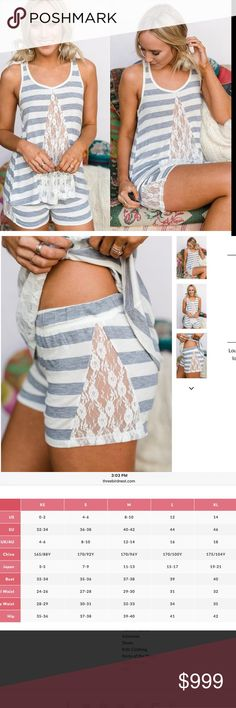 Coming soon! Lace Lounge Pajama Set Loungewear at its finest. Light striped 2 piece pajamas lounge set with Lace inset in a tank and boy cut shorts. Available in 2 sizes that fits sizes 0-12. I only have 1 set available in each size. Comfortable and girly! Three Bird Nest Intimates & Sleepwear Pajamas