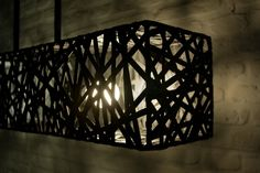 Lamp made of bicycle tubes.
