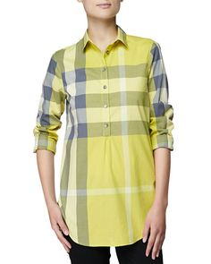 Long-Sleeve Long Check Shirt, Amber Yellow by Burberry Brit at Neiman Marcus. Burberry Outfit, Burberry Plaid, Burberry Women, Burberry Brit, Pants For Women, Clothes For Women, Check Shirt, Pullover Sweaters, Amber