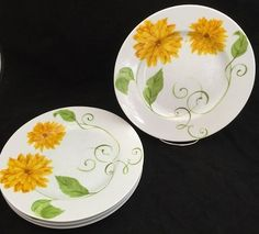Westbury Court LYRICAL BLOOMS Dinner Plates - Set of 4 - Stacy Haase - Puissant…