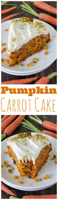The BEST Pumpkin Carrot Cake with Cream Cheese Frosting! YUM!