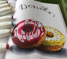 Marker Kunst, Copic Marker Art, Copic Art, Sketch Markers, Kunstjournal Inspiration, Art Journal Inspiration, Copic Kunst, Donut Drawing, Food Art Painting