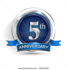 Celebrating 5th anniversary logo, with silver ring and ribbon isolated on white background.