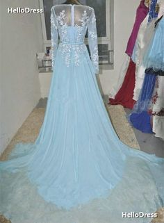 Light Blue Long Sleeves Prom Dress with Appliques and Rhinestones on Storenvy