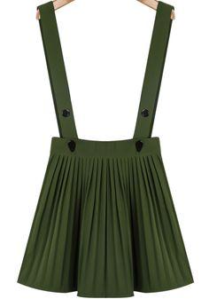 jupe plissée à bretelle bouton -vert d'armée
