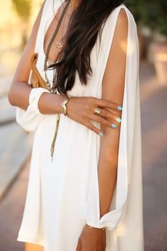 Tiffany Blue Nails White Gold Accessories! White V-neck Cut-out Sleeves Shift Chiffon Dress #fashion #beautiful #pretty