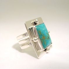 Nouveau Turquoise Ring by KBerlinMetalsmith on Etsy, $110.00