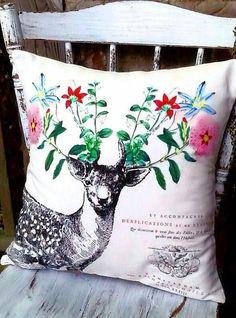 Pillow Cover Deer Pillow Cotton and Burlap Pillow