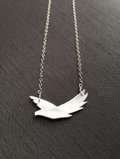 """Silver Bird Pendant, Fine Silver (.999%) Necklace, Sterling Silver 16.5"""" Chain, Spirit Animal, Handmade Jewelry, Gifts for Women by mindy"""