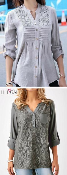 Grey Button Up Lace