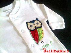 Applique owl babygrow sleepsuit