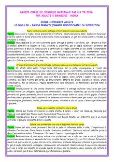Pagina 1 programma corsi 2016 di cosmesi naturale fai da te a Roma per adulti,bambini e ragazzi