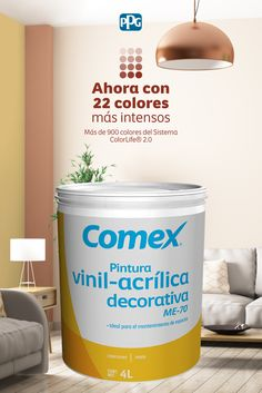 Cubre y dale mantenimiento a tus superficies interiores con ME-70®, una pintura vinil- acrílica base agua disponible en más de 900 colores del Sistema ColorLife® 2.0 y 22 colores de línea.#ProductosComex