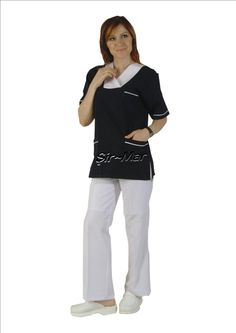 HNU-11 HEAD NURSE UNIFORM • Top & Pant • Alpaca fabric, %65/35 poly/viscose • Fashioned collar • One chest and two patch pockets • Short or long sleeve options • Closed front • Wrinkle resistant • No yellowing • Color: Dark blue on White • Optional pastel colors • Sizes(US): XS – S -M - L - XL -2XL -3XL • Sizes(EU): 36 -38 -40 -42 -44 -46 -48
