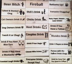 Adult Jenga Drinking Game Engraved Phrases - Silly slogans, sayings, commands, etc. for the Jenga like Wood Tumbling Blocks Drinking Game. Jenga Drinking Game, Drinking Board Games, Drinking Games For Parties, Jenga Game, Outdoor Drinking Games, Adult Drinking Games, Sleepover Party Games, Adult Party Games, Birthday Party Games