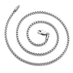 """AmyRT Jewelry 3mm Titanium Steel Rolo Chain Silver Necklaces for Women & Men 30"""" AmyRT http://www.amazon.com/dp/B017RLYQJ0/ref=cm_sw_r_pi_dp_.qS8wb1A33S9R"""