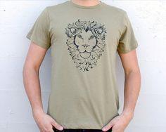Handsome Leo Lion cotton MEN'S tee shirt Army Green $20