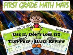 Review those 1st Grade Math skills in this structured, spiral format! Included:*12 Math Mats*Review of a larger number of skills on one easy sheet        #tens, ones, hundreds        # time- analog and digital        #greater than, less than, equal        #fractions       #vocabulary       #patterns       #geometrical shapes       #tallies       #coins       #inverse relationships       #fact strategy systematic focus  *Circular review to help move skills from short term memory into long term memory*Fun, ...