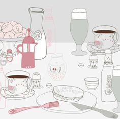 Editorial illustration by Vibeke Høie, Magazine Illustration, Pastel Colors, Editorial, Drawings, Breakfast, Morning Coffee, Pastel Colours, Sketches, Drawing