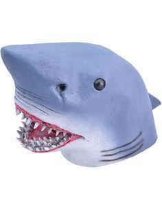 ADULT GRAY SHARK JAWS KILLER SHARK FISH MARINE ANIMAL COSTUME LATEX RUBBER MASK
