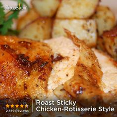 "Roast Sticky Chicken-Rotisserie Style | ""Ever wish you could get that restaurant-style rotisserie chicken at home? You can, with minimal preparation and about 5 hours cooking time—great for the weekends!"" #ComfortFood"