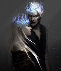 Aelin and Rowan with the fire crowns