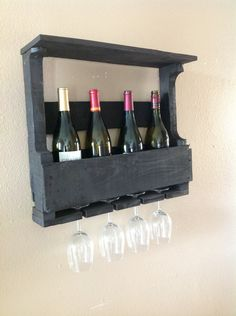 Reclaimed Wood Wine Rack- Dark Walnut   Could use two for dinning room to save cabinet space.