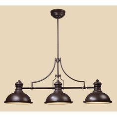 Westmore Lighting 13-in W Chadwick 3-Light Oiled Bronze Kitchen Island Light with Frosted Shade